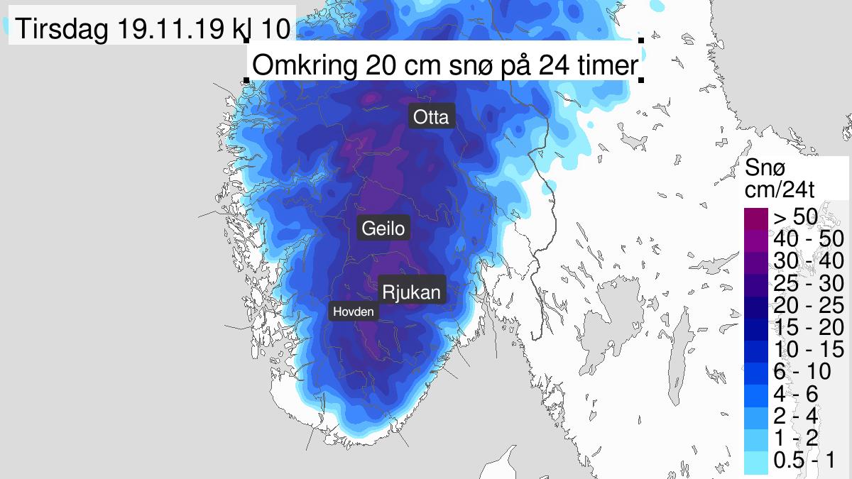 Mye snø, gult nivå, Aust-Agder, Telemark og Buskerud, 18 November 09:00 UTC til 19 November 09:00 UTC.