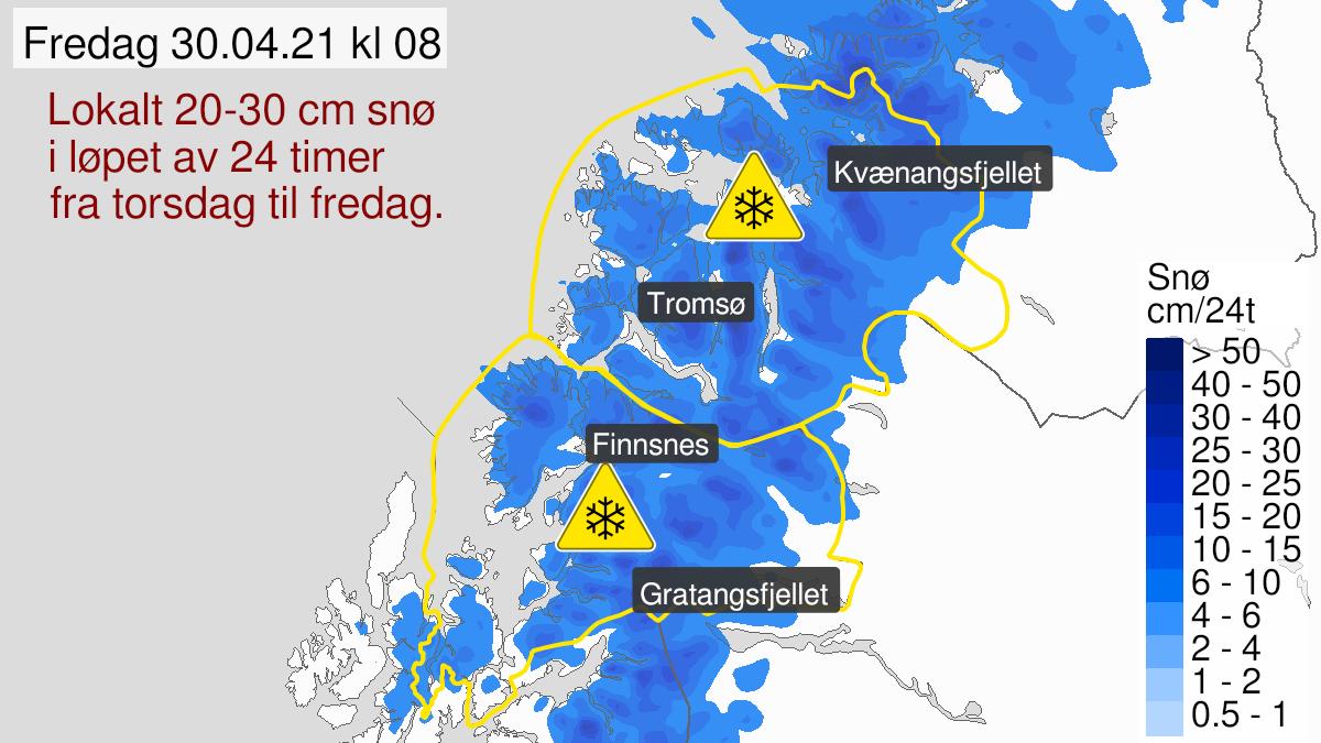 Kart over snø, gult nivå, Troms, 29 April 06:00 UTC til 30 April 12:00 UTC.
