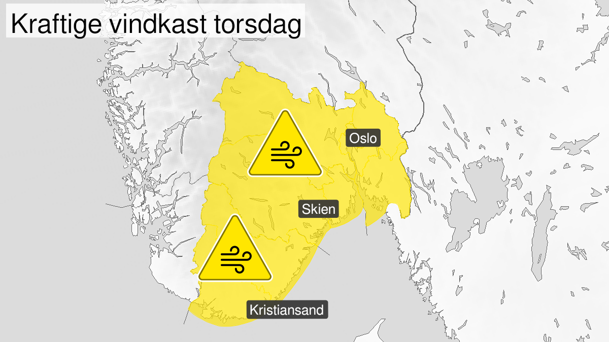 Map of strong wind gusts, yellow level, Telemark, Vestfold, Oestfold, Oslo, Akershus and Buskerud, 24 September 07:00 UTC to 24 September 16:00 UTC.