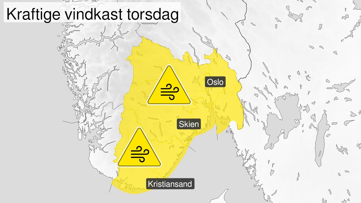 Kart over kraftige vindkast, gult nivå, Telemark, Vestfold, Østfold, Oslo, Akershus og Buskerud, 24 September 07:00 UTC til 24 September 16:00 UTC.