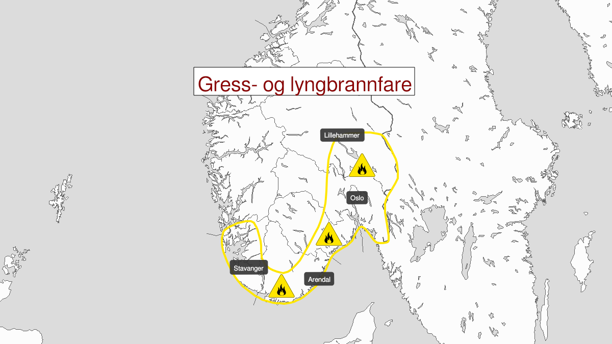 Map of forest fire danger, yellow level, Østafjells og Rogaland, 23 April 09:00 UTC to 28 April 08:00 UTC.