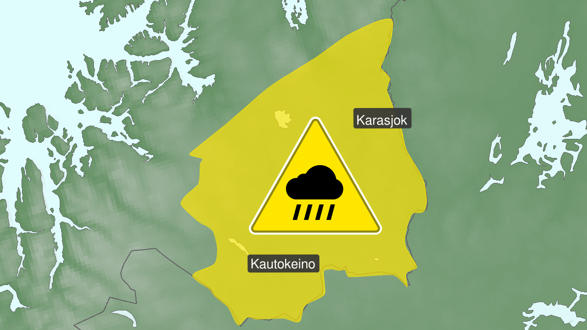 Kart over mye regn, gult nivå, Finnmarksvidda, 09 August 03:00 UTC til 09 August 09:00 UTC.