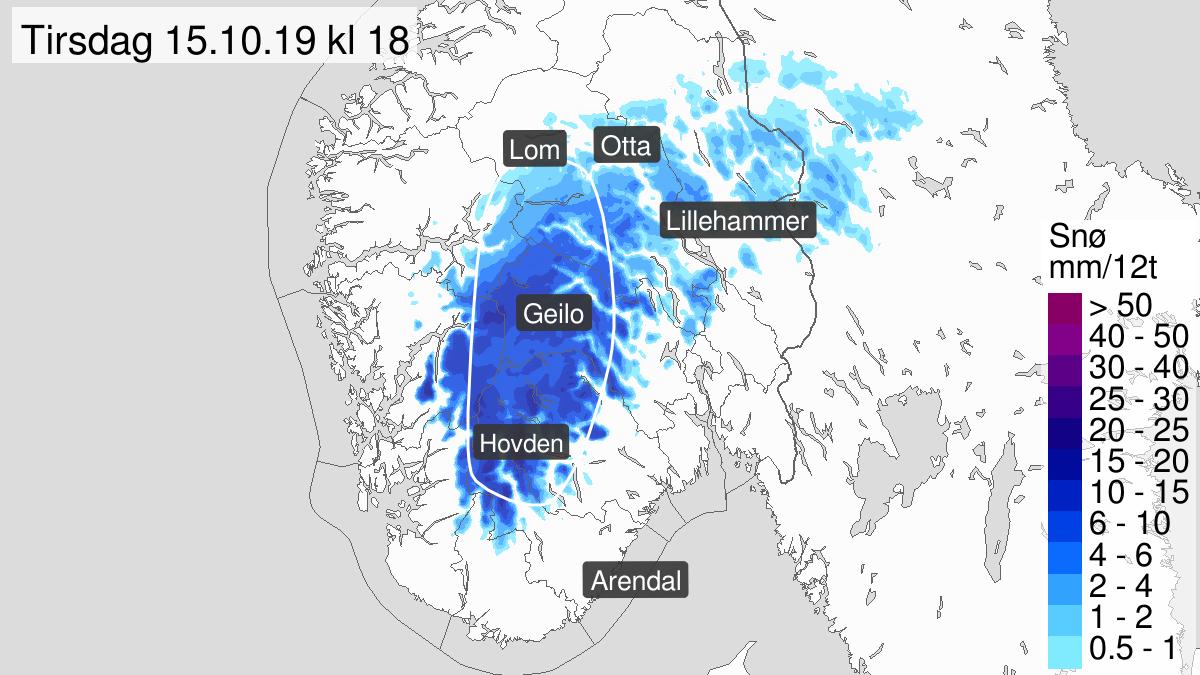 Mye snø, gult nivå, Fjellet i Sør-Norge, 15 October 00:00 UTC til 15 October 20:00 UTC.