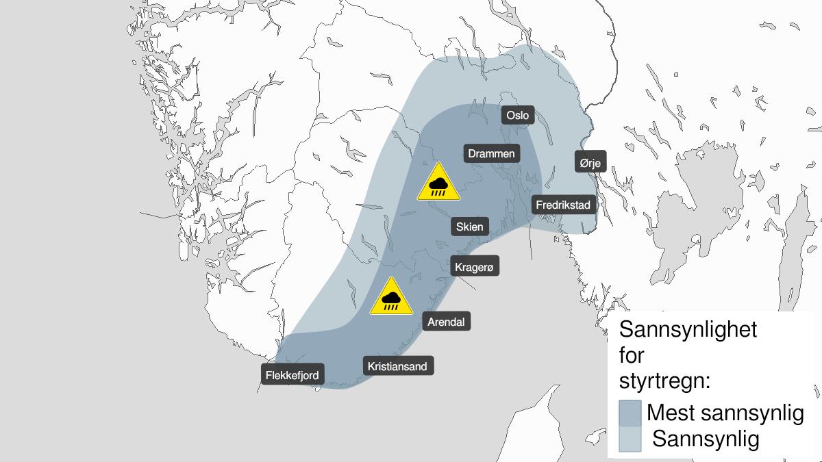 Kart over styrtregn, gult nivå, Vest-Agder, Aust-Agder, Telemark, Vestfold, Østfold, Oslo og Akershus og Buskerud, 29 July 00:00 UTC til 29 July 15:00 UTC.