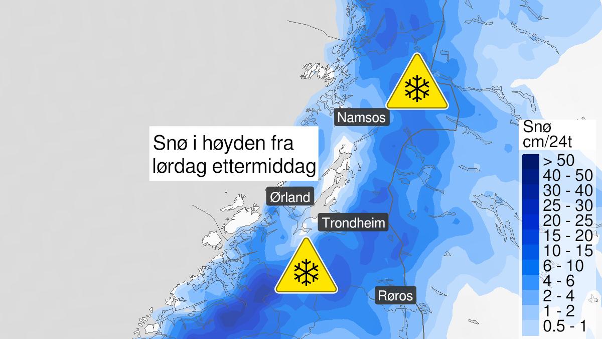 Kart over snø, gult nivå, Trøndelag, 17 October 12:00 UTC til 18 October 22:00 UTC.