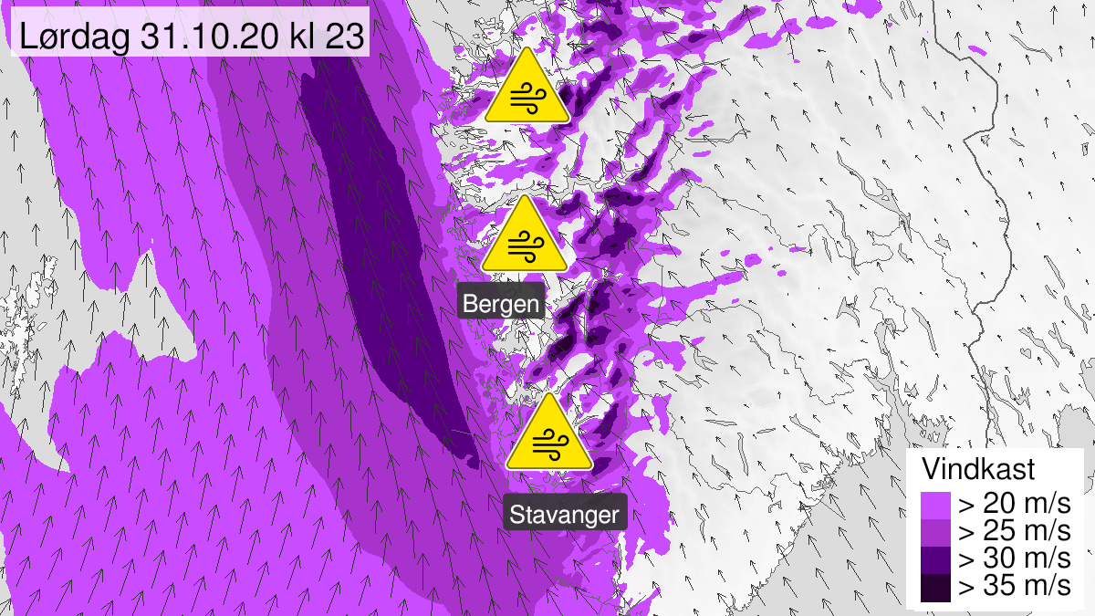 Map of strong wind gusts, yellow level, Western Norway, 31 October 15:00 UTC to 01 November 12:00 UTC.