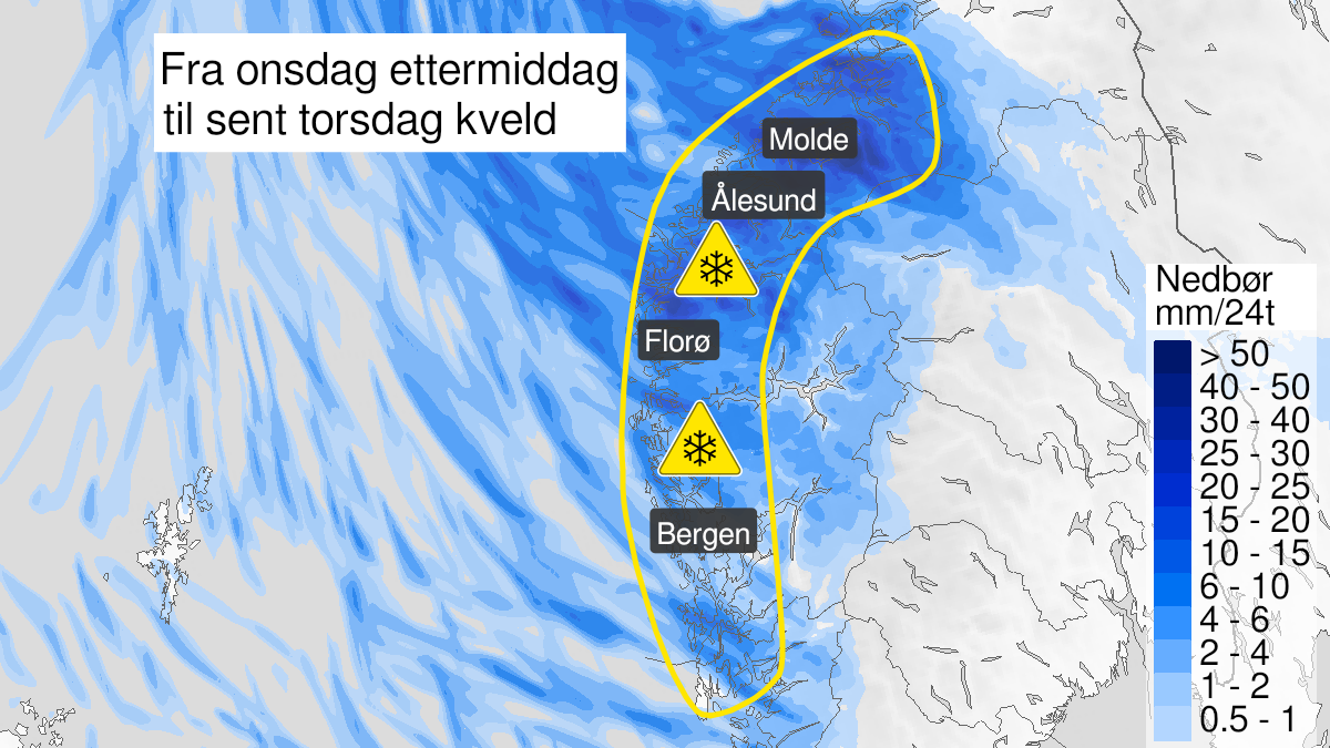 Kart over snø, gult nivå, Vestlandet, 27 January 12:00 UTC til 28 January 23:00 UTC.