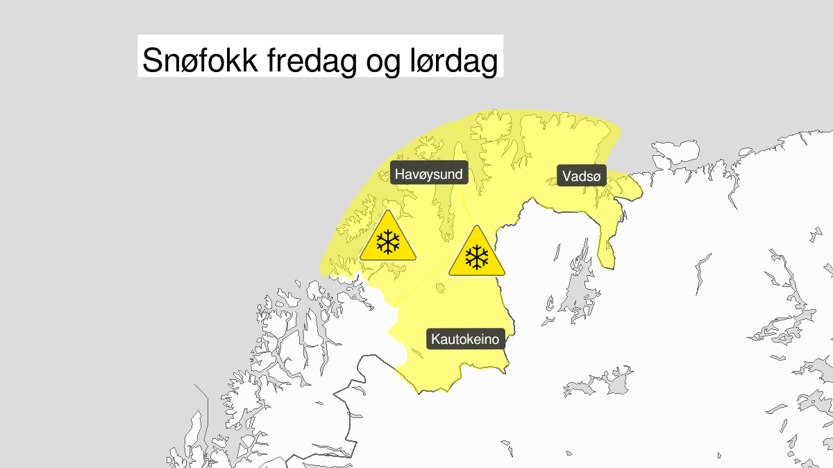 Kart over kraftig snøfokk, gult nivå, Finnmark, 03 April 21:00 UTC til 04 April 22:00 UTC.
