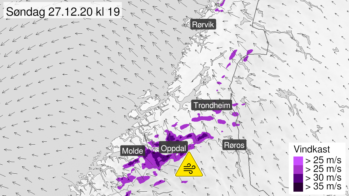 Map of strong wind gusts, yellow level, Moere and Romsdal and Soer-Troendelag, 27 December 15:00 UTC to 28 December 02:00 UTC.