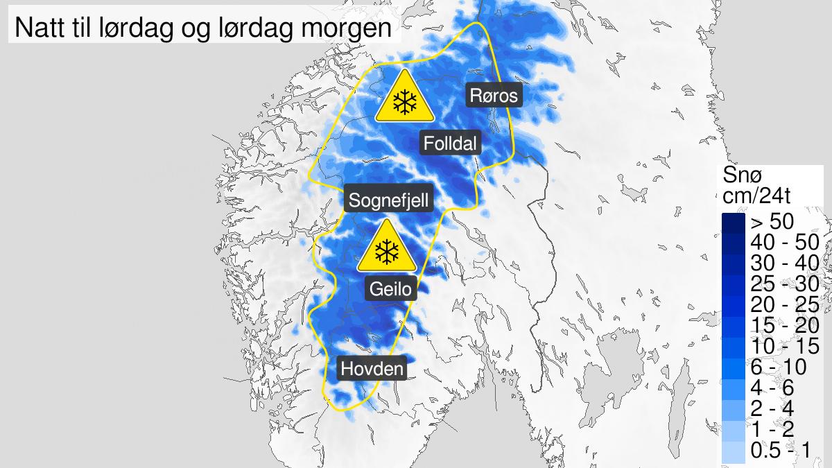 Map of snow, yellow level, Vest-Agder, Aust-Agder, Telemark, Buskerud, Oppland, Hedmark, Rogaland, Hordaland, Sogn og Fjordane, Møre og Romsdal og Sør-Trøndelag, 25 September 22:00 UTC to 26 September 10:00 UTC.