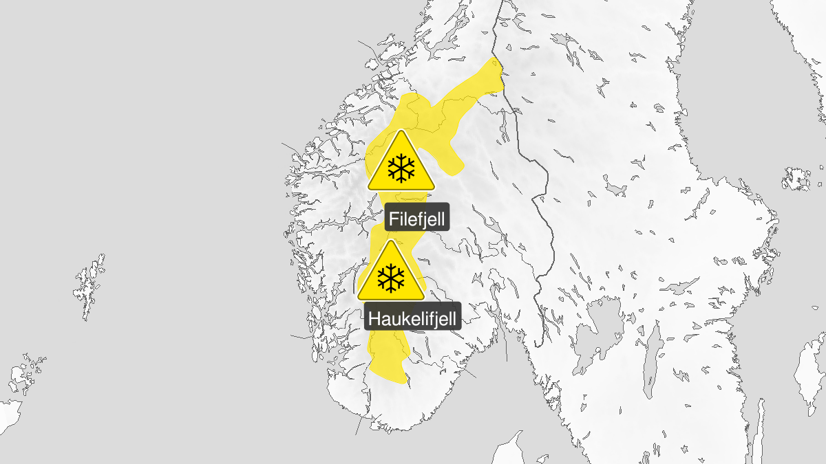 Kart over kraftig snøfokk, gult nivå, Fjellet i Sør-Norge, 08 April 16:00 UTC til 10 April 06:00 UTC.