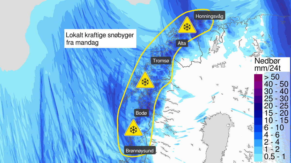 Map of heavy snow, yellow level, Nordland, Troms and Kyst- and fjordstroekene i Finnmark, 11 May 00:00 UTC to 12 May 21:00 UTC.
