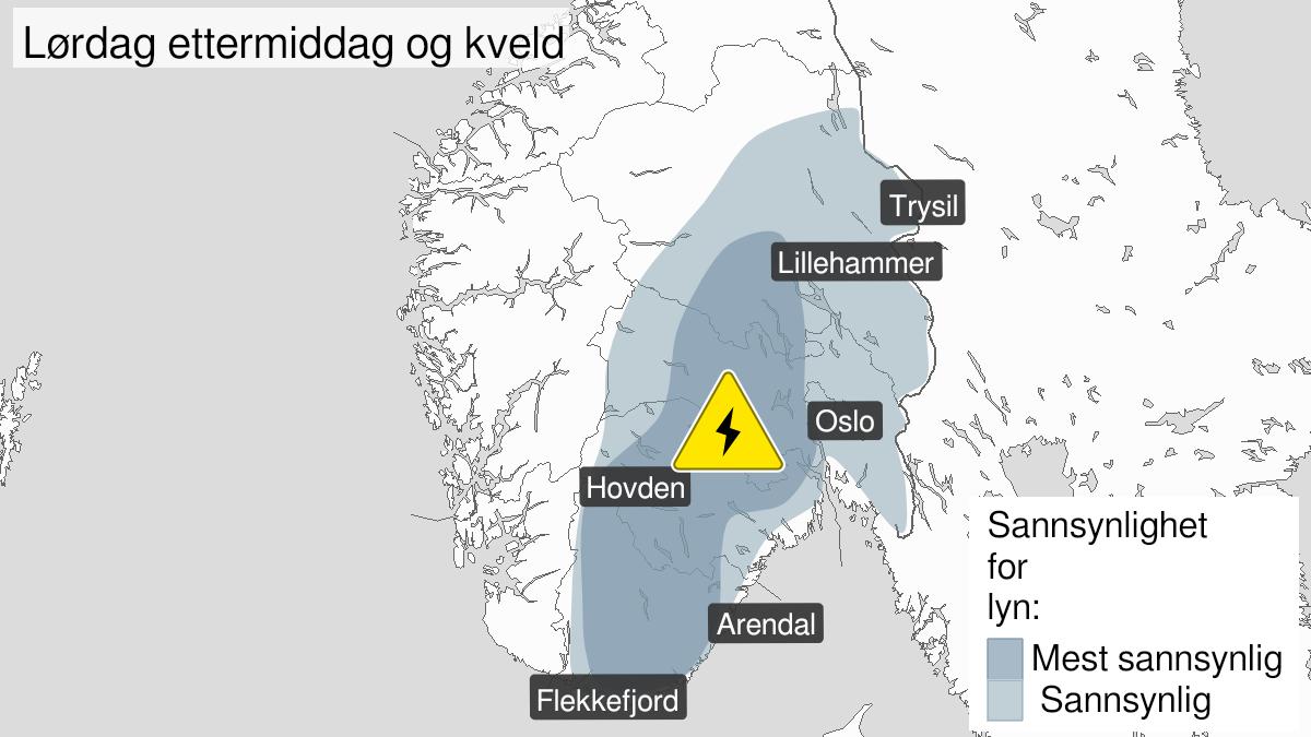 Map of frequent lightning, yellow level, Austafjells, 26 June 10:00 UTC to 26 June 20:00 UTC.