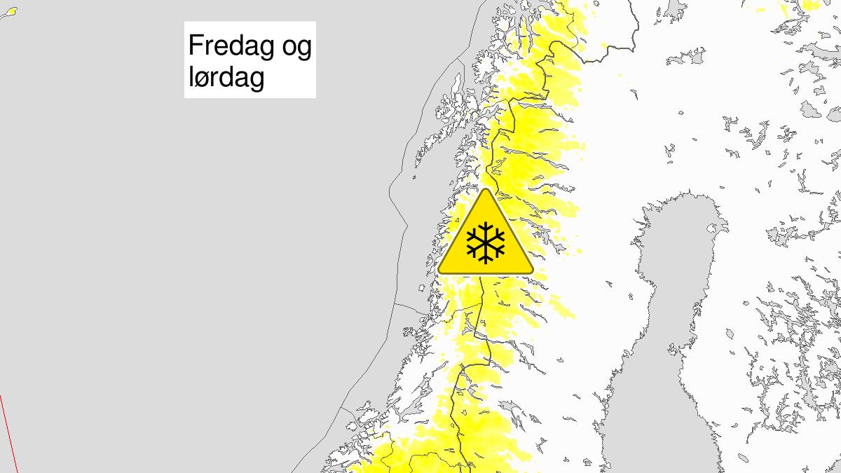 Normalt mye snø, grønt nivå, Trøndelag, Nordland og Troms, 13 September 06:00 UTC til 13 September 10:00 UTC.