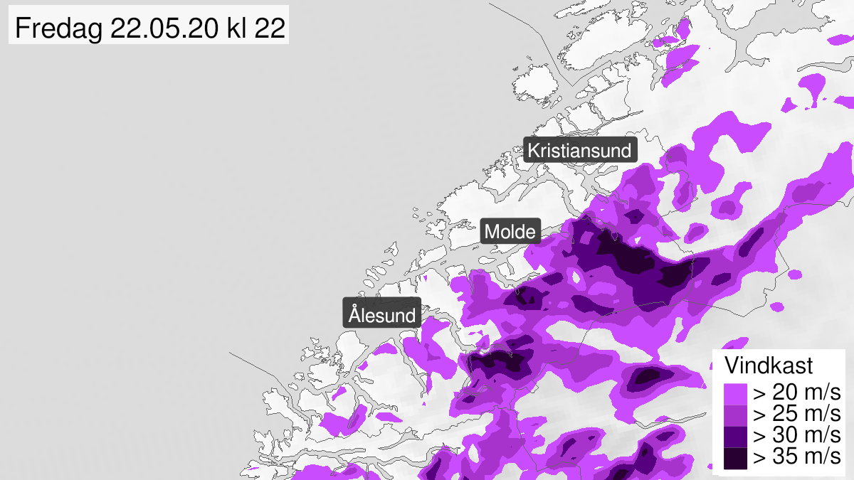 Map of strong wind gusts, yellow level, Møre og Romsdal, 22 May 10:00 UTC to 23 May 00:00 UTC.