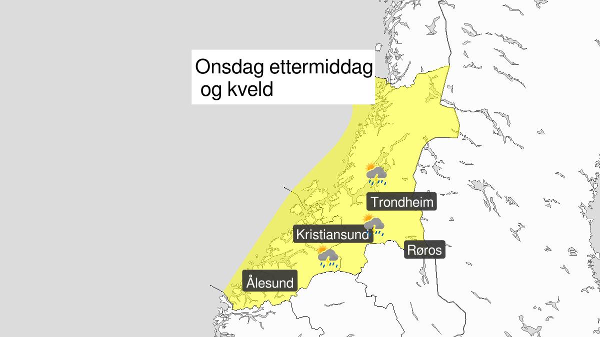Kraftige regnbyger, gult nivå, Møre og Romsdal og Trøndelag, 07 August 12:00 UTC til 07 August 23:00 UTC.
