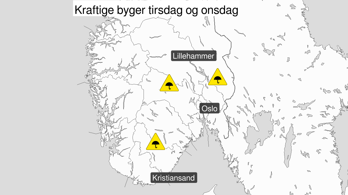 Kraftige regnbyger, gult nivå, Østafjells, 21 May 16:00 UTC til 22 May 22:00 UTC.