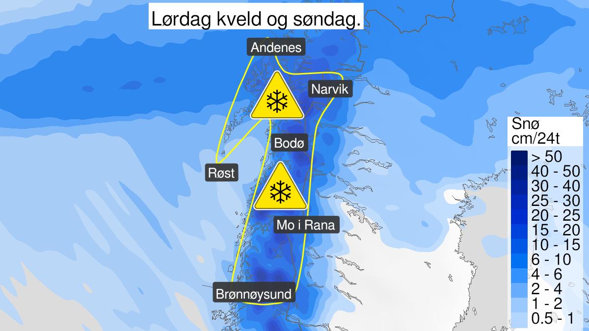 Kart over snø, gult nivå, Nordland, 20 March 18:00 UTC til 21 March 23:00 UTC.