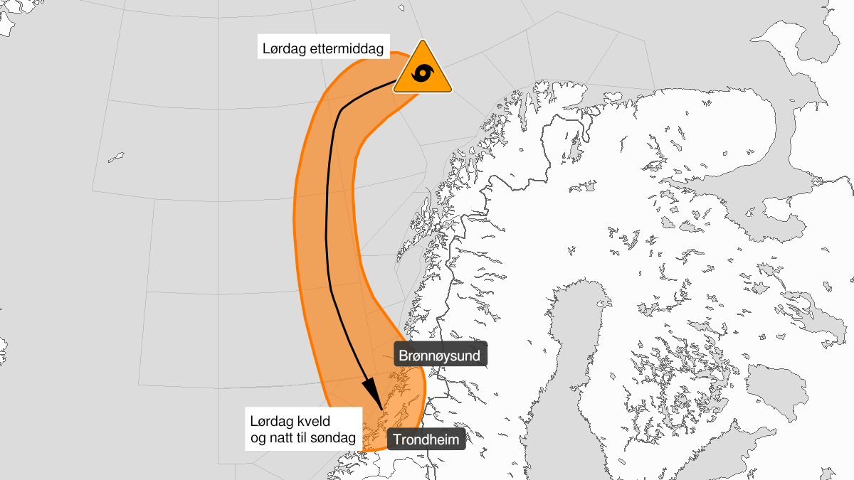 Kart over svært kraftig polart lavtrykk, oransje nivå, Frøyabanken, Haltenbanken, Sklinnabanken, Trænabanken, C4, D3, Dype D4, E3, F3, Sør-Trøndelag og Nord-Trøndelag, 06 March 06:00 UTC til 07 March 08:00 UTC.