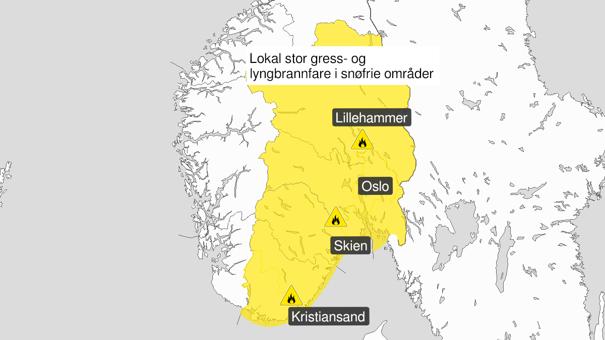 Map of forest fire danger, yellow level, Oestafjells, 20 May 10:00 UTC to 22 May 21:00 UTC.