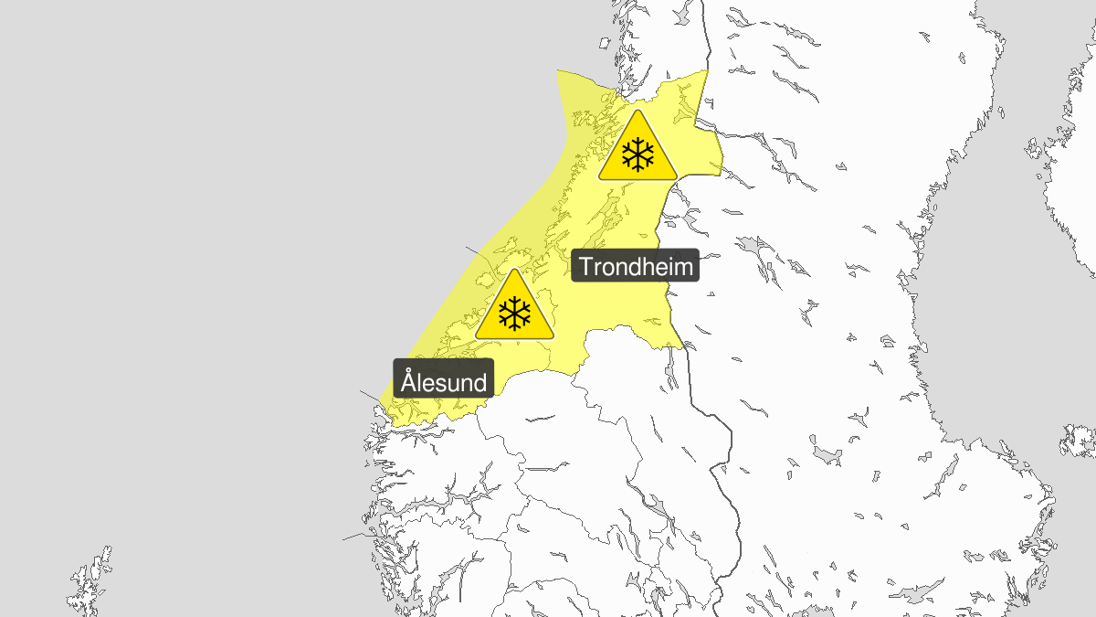 Mye snø, gult nivå, Møre og Romsdal og Trøndelag, 03 January 08:00 UTC til 04 January 06:00 UTC.