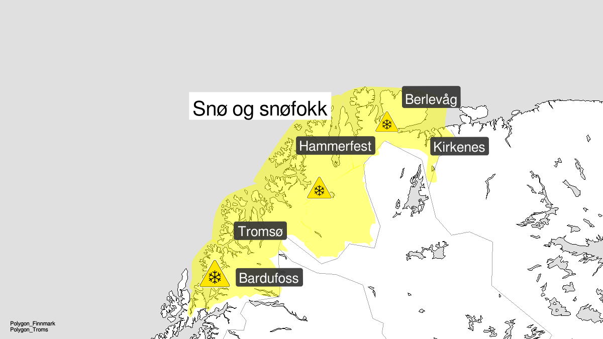Kart over kraftig snøfokk, gult nivå, Troms og Finnmark, 30 March 21:00 UTC til 31 March 14:00 UTC.