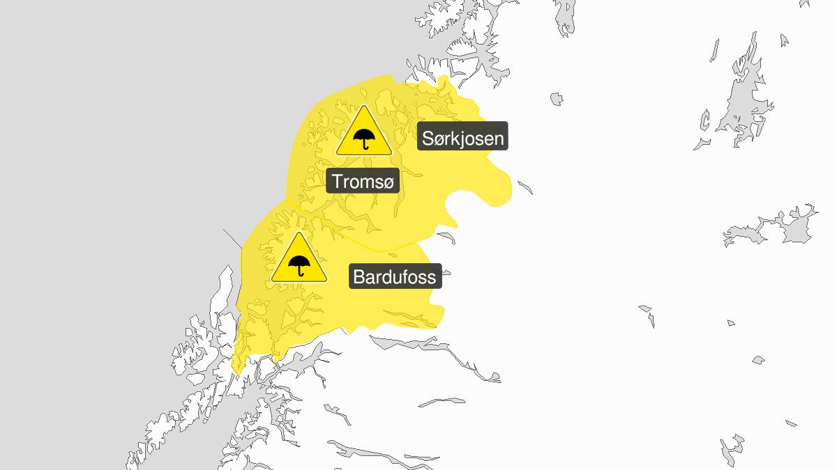 Map of heavy rain, yellow level, Troms, 18 September 00:00 UTC to 19 September 15:00 UTC.