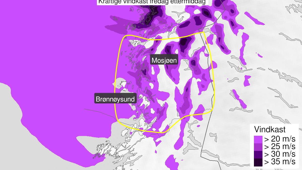 Map of extreme weather Frank: Strong wind gusts, yellow level, Helgeland, 22 January 11:00 UTC to 22 January 18:00 UTC.