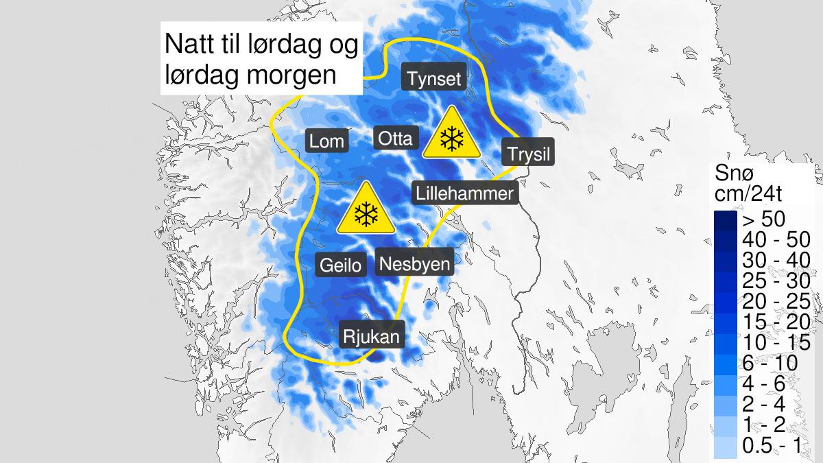Kart over snø, gult nivå, Telemark, Buskerud, Oppland og Hedmark, 25 September 22:00 UTC til 26 September 10:00 UTC.