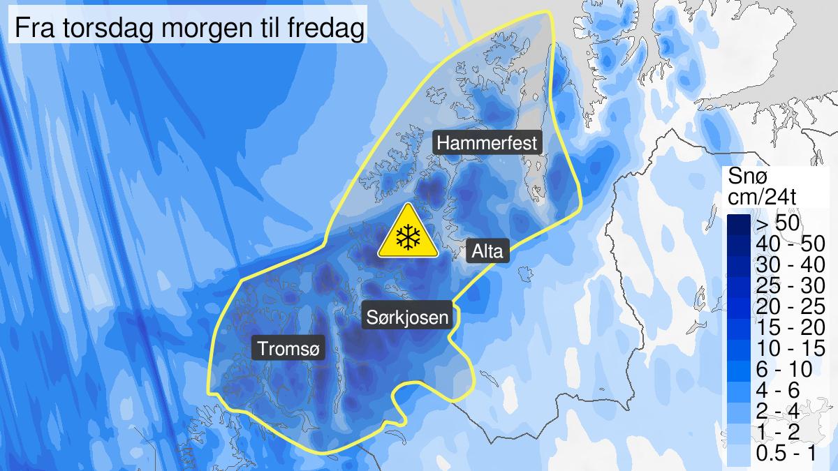 Map of snow, yellow level, Nord-Troms and Kyst- and fjordstroekene i Vest-Finnmark, 19 November 08:00 UTC to 20 November 10:00 UTC.