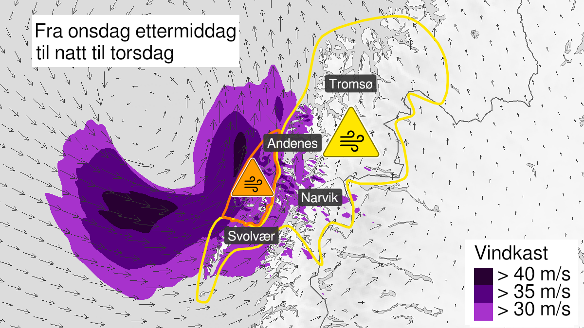 Map of strong wind gusts, yellow level, Ofoten and Lofoten, 23 September 14:00 UTC to 23 September 22:00 UTC.