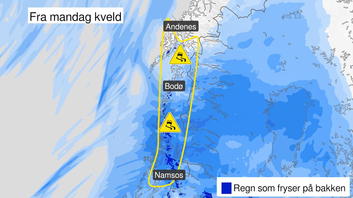 Kart over is, gult nivå, Nord-Trøndelag og Nordland, 22 February 18:00 UTC til 24 February 10:00 UTC.