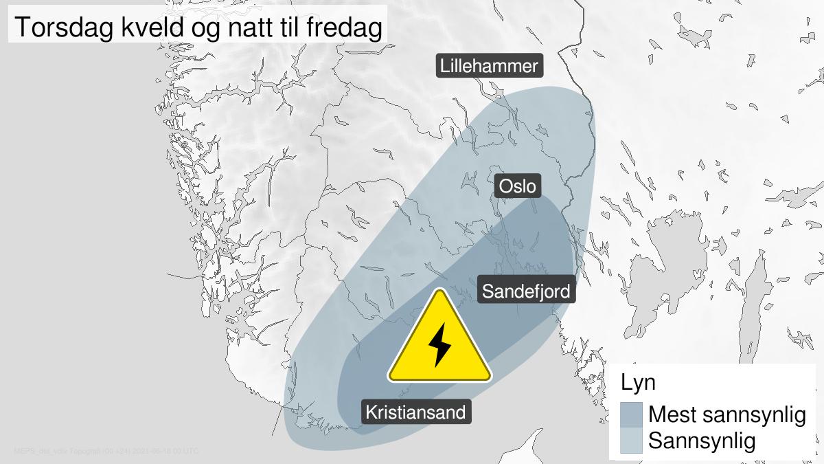 Kart over mye lyn, gult nivå, Østafjells, 17 June 15:00 UTC til 18 June 02:00 UTC.