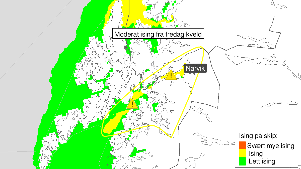Map of extreme weather Frank: Moderate icing on ships, yellow level, Ofoten, 22 January 23:00 UTC to 23 January 18:00 UTC.