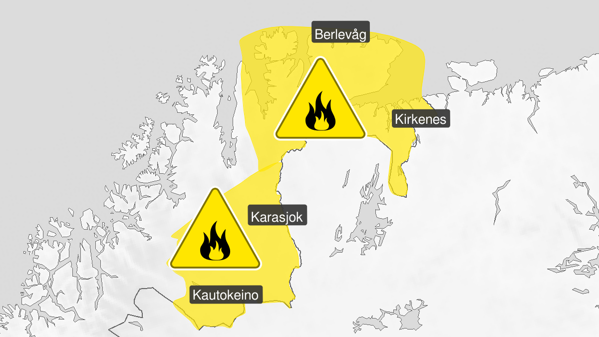 Map of forest fire danger, yellow level, Oest-Finnmark and Finnmarksvidda, 05 August 06:00 UTC to 09 August 06:00 UTC.