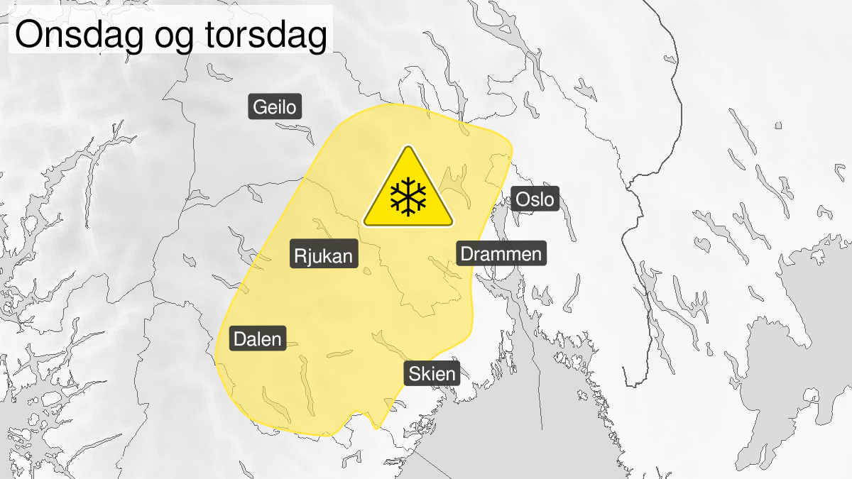Map of snow, yellow level, Oslo, Akershus, Buskerud, Vestfold and Telemark, 10 March 18:00 UTC to 11 March 18:00 UTC.