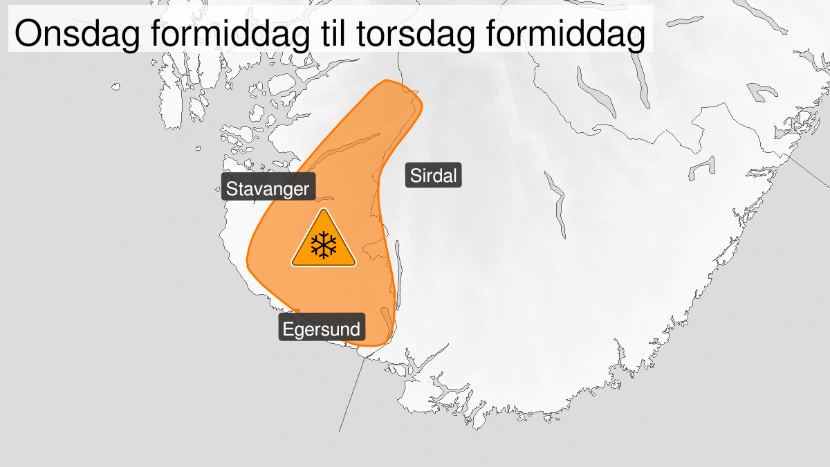 Map of very heavy snow, orange level, Rogaland, 10 March 12:00 UTC to 11 March 09:00 UTC.