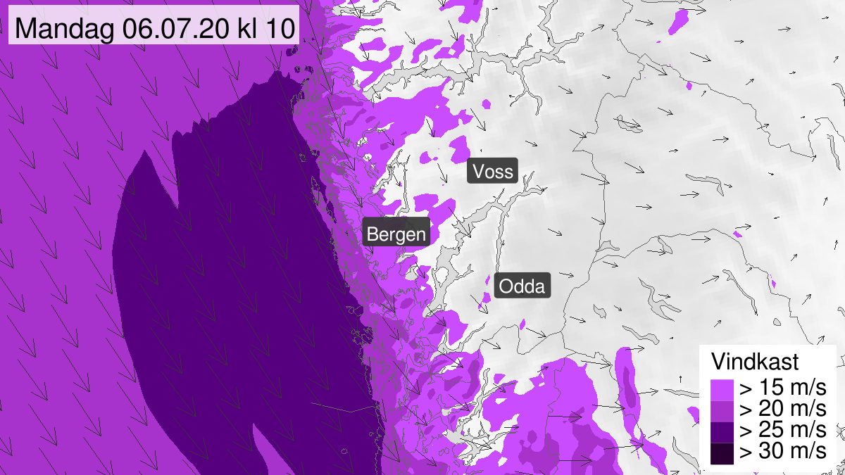 Map of strong wind gusts, yellow level, Hordaland, 06 July 04:00 UTC to 06 July 11:00 UTC.