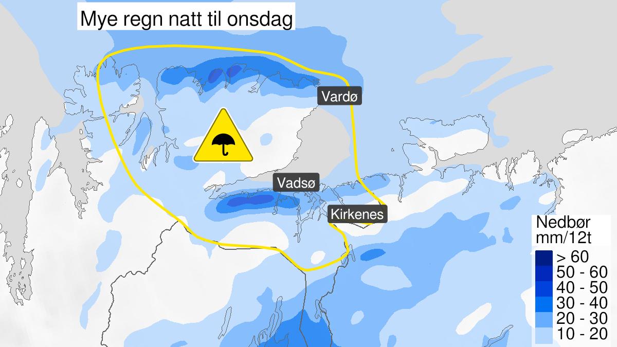 Map of heavy rain, yellow level, Øst-Finnmark, 03 August 21:00 UTC to 04 August 12:00 UTC.