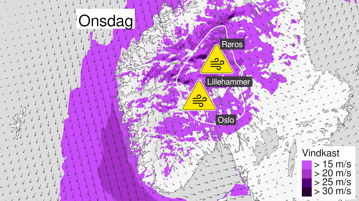 Kart over kraftige vindkast, gult nivå, Akershus, Oppland og Hedmark, 16 September 09:00 UTC til 16 September 18:00 UTC.
