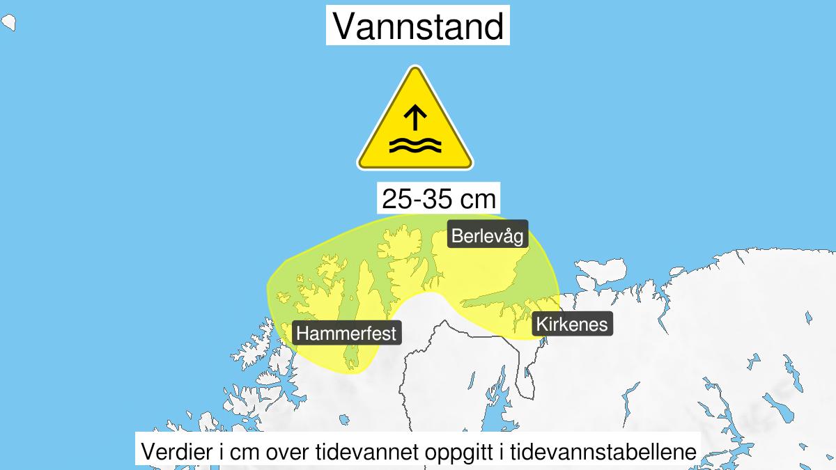Kart over høy vannstand, gult nivå, Kyst- og fjordstrøkene i Finnmark, 20 September 01:00 UTC til 20 September 16:00 UTC.