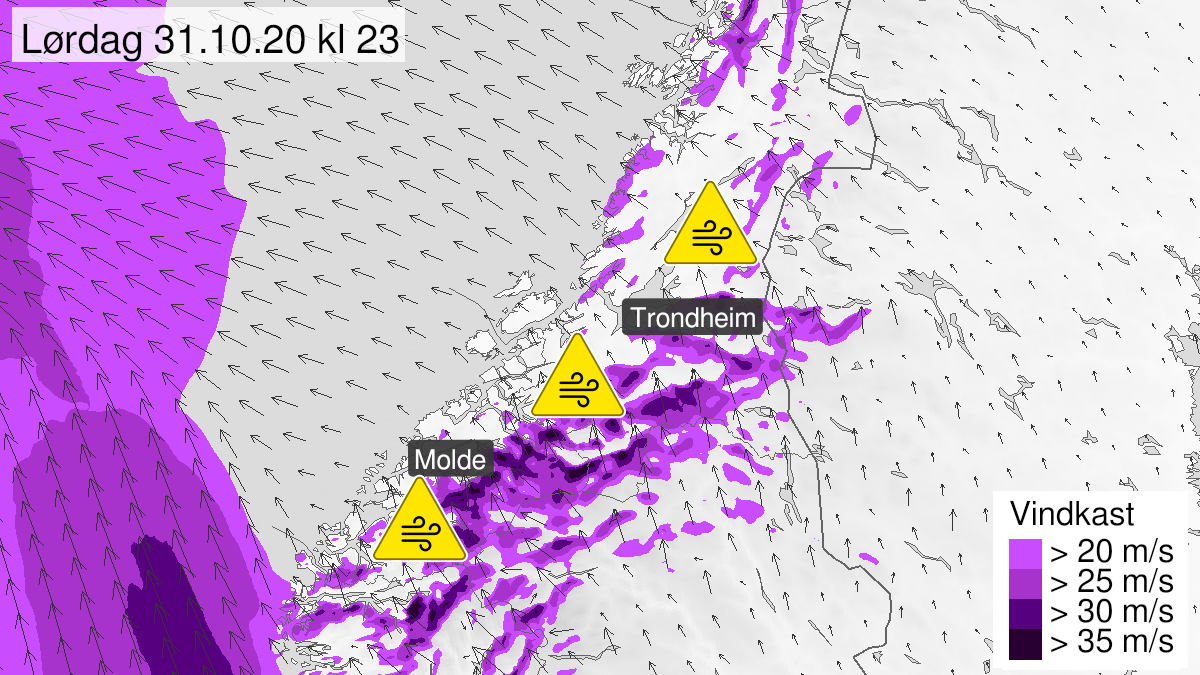 Map of strong wind gusts, yellow level, Moere og Romsdal and Troendelag, 31 October 17:00 UTC to 01 November 15:00 UTC.