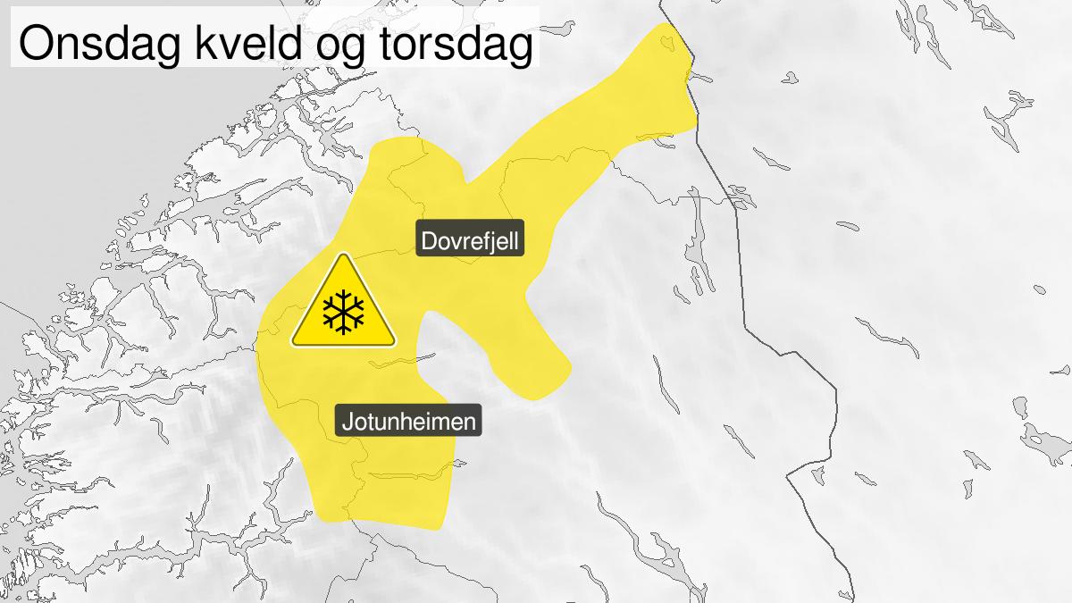 Kart over kraftig snøfokk, gult nivå, Rondane og Fjellet i Sør-Norge unntatt Langfjella, 10 March 18:00 UTC til 11 March 18:00 UTC.