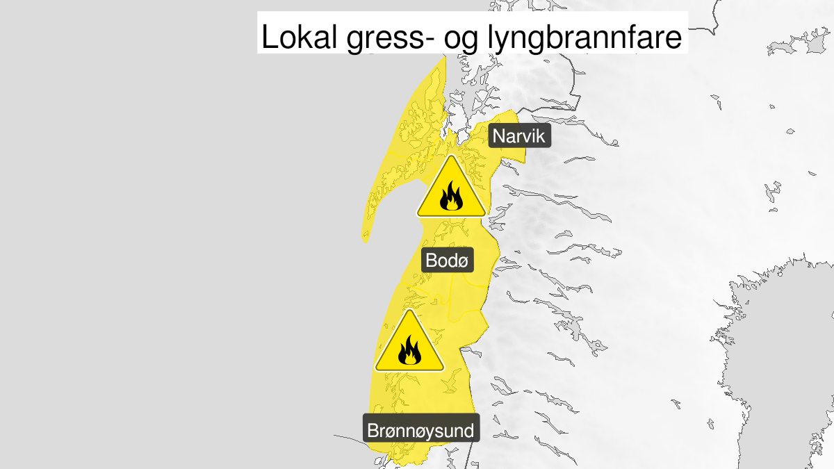 Map of forest fire danger, yellow level, Helgeland, Salten, Ofoten, Lofoten og Vesterålen, 15 May 09:00 UTC to 18 May 22:00 UTC.