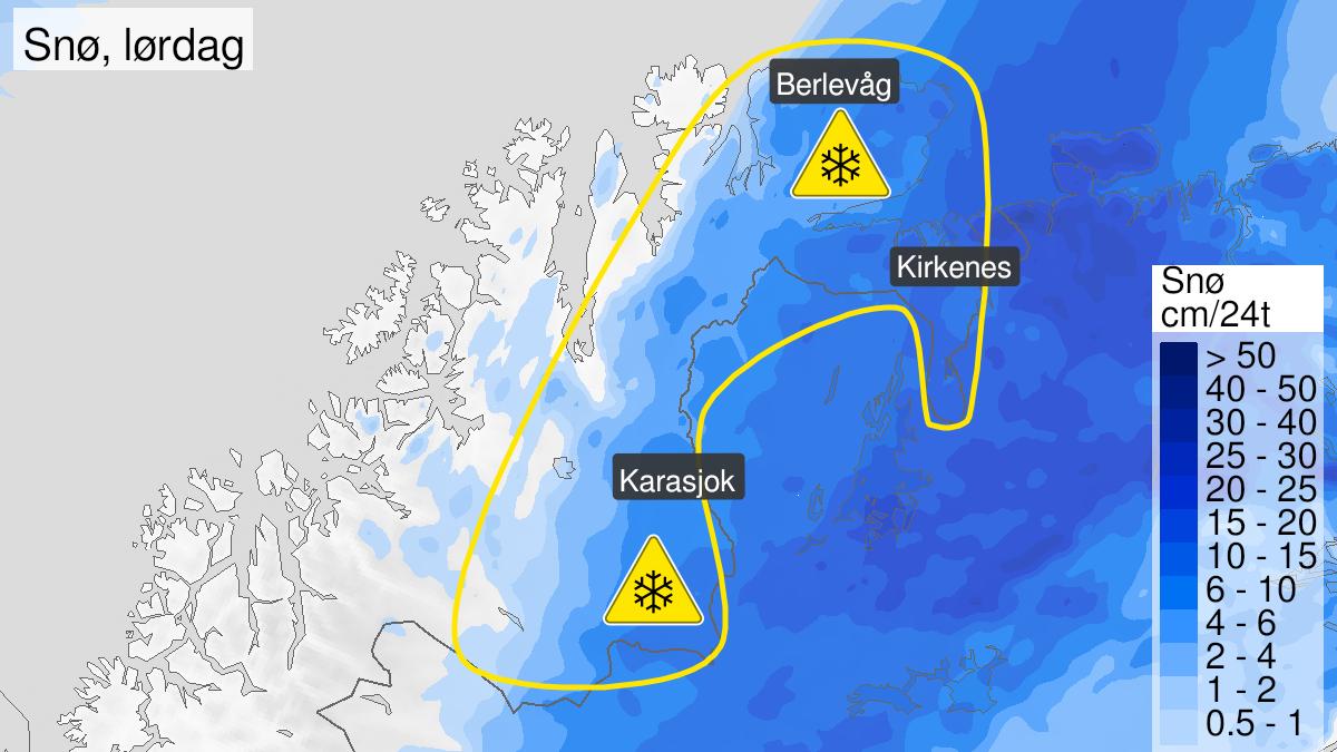 Kart over snø, gult nivå, Øst-Finnmark og Finnmarksvidda, 21 May 19:00 UTC til 22 May 18:00 UTC.