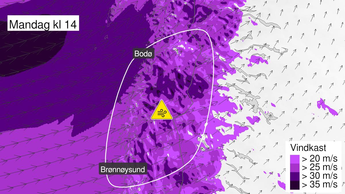Map of strong wind gusts, yellow level, Helgeland and Saltfjellet, 21 September 07:00 UTC to 21 September 20:00 UTC.