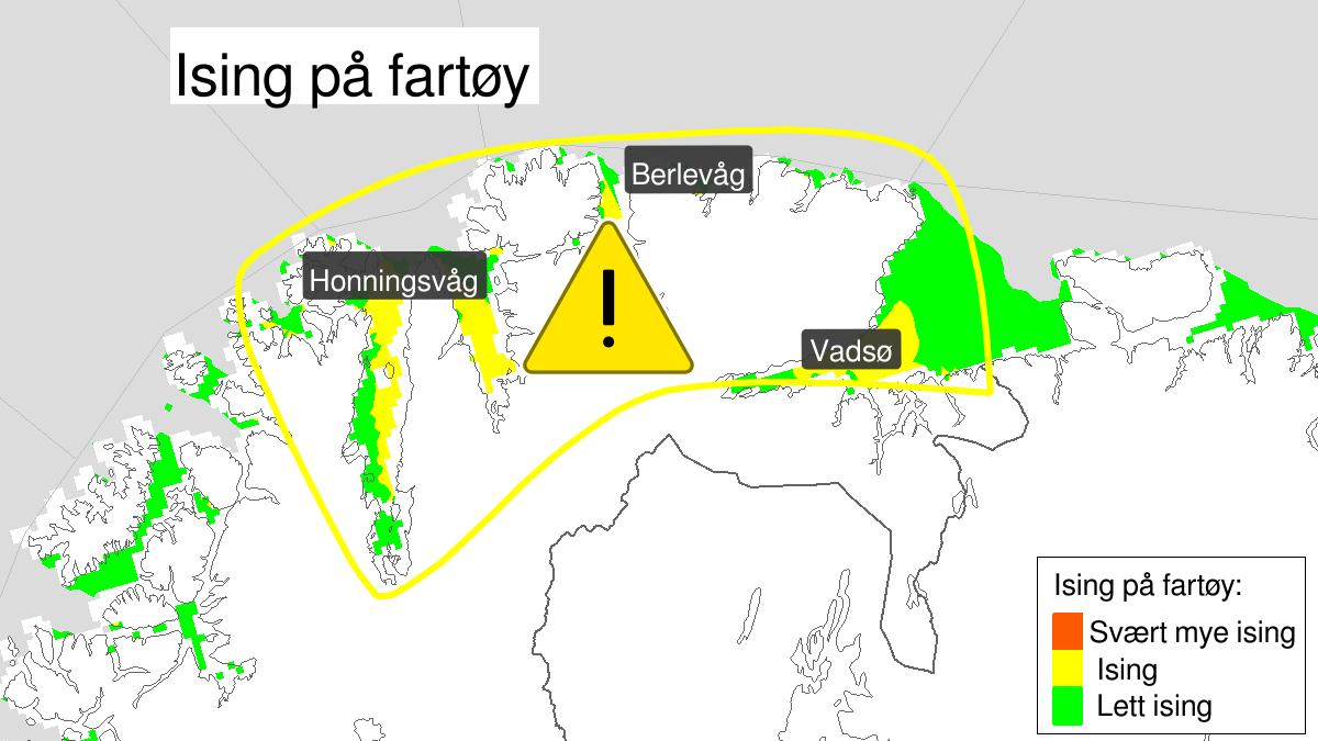 Kart over moderat ising på skip, gult nivå, Kyst- og fjordstrøkene i Finnmark, 28 March 20:00 UTC til 29 March 10:00 UTC.