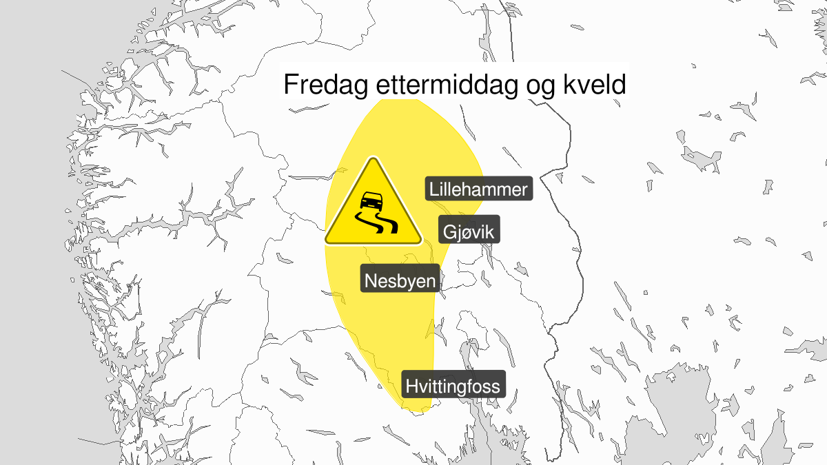 Map of ice observed, yellow level, Buskerud, Oppland and Hedmark, 04 December 12:00 UTC to 04 December 23:00 UTC.