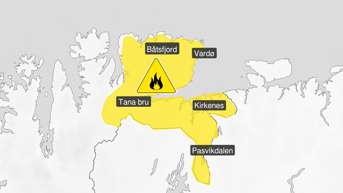 Kart over skogbrannfare, gult nivå, Øst-Finnmark, 31 July 07:00 UTC til 04 August 12:00 UTC.