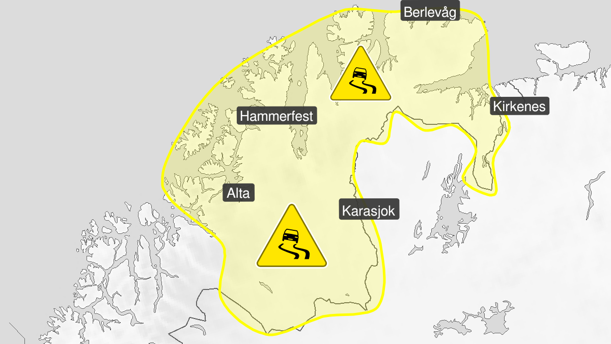 Map of ice, yellow level, Finnmark, 15 May 19:00 UTC to 16 May 22:00 UTC.